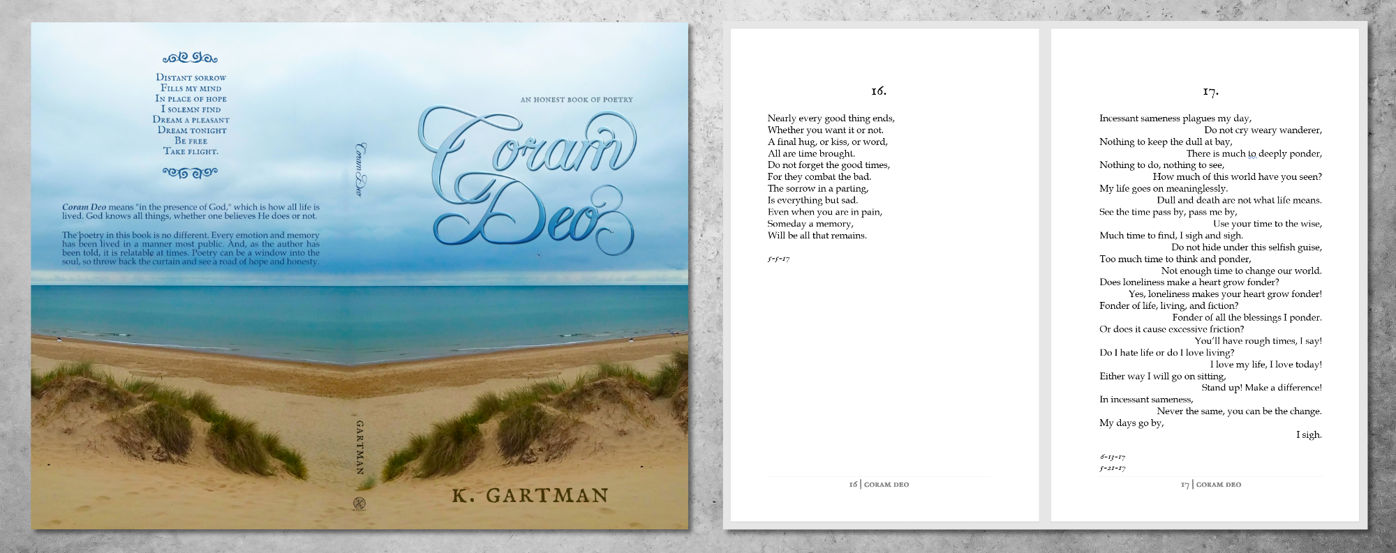 Book cover design and interior example page image for Coram Deo by K. Gartman