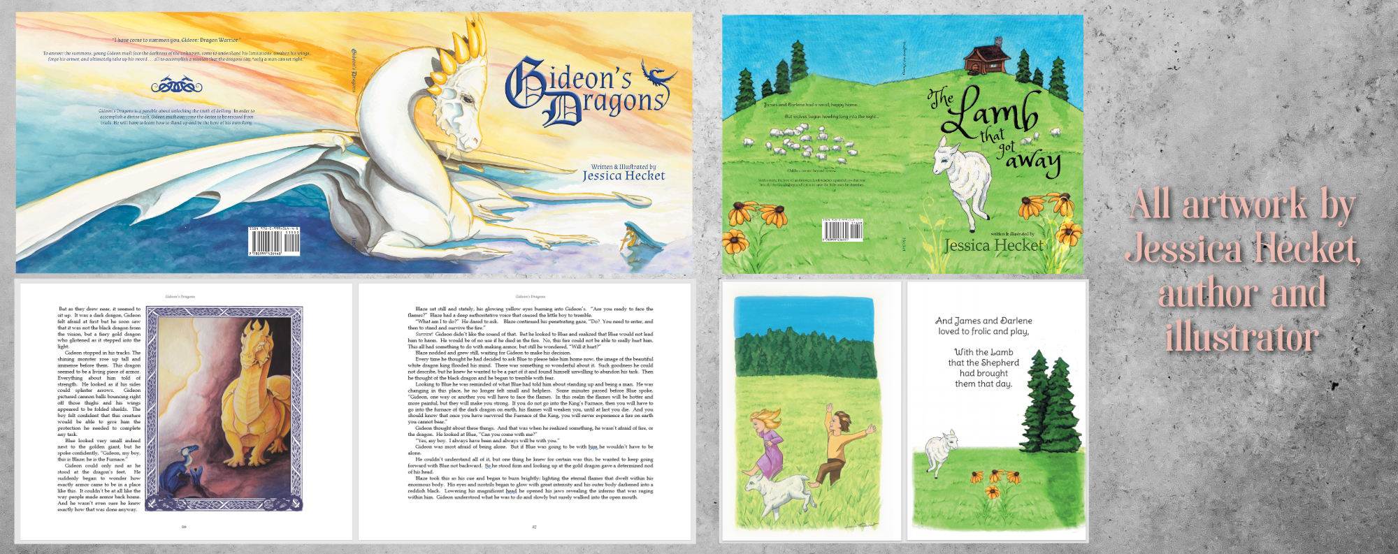 Example image of books Gideon's Dragons and The Lamb that Got Away by Jessica Hecket